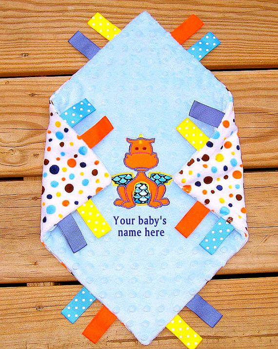 Personalized dragon lovey minky security by lovablekreations, $22.99 dragon blanket, unique baby boy gift, tag blanket, baby shower gift, toddler boy gift