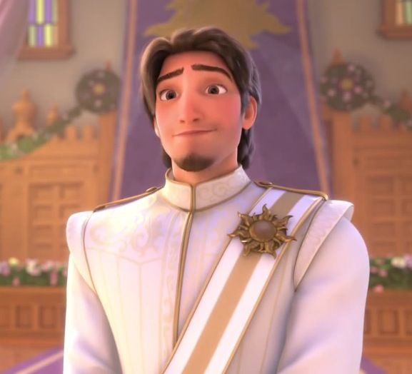 He looks so happy and emotional to see Rapunzel coming down the aisle. <3
