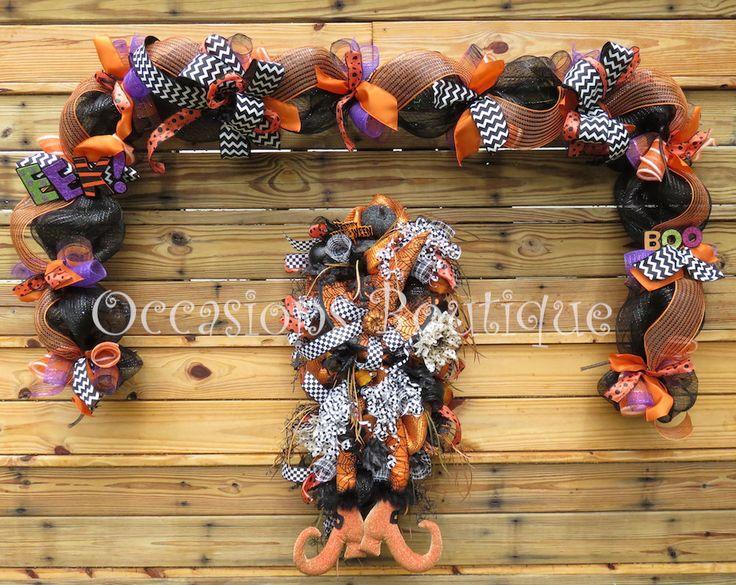Halloween Wreath, Halloween Decoration, Wreath and Door Garland, Halloween door swag, Witch wreath, Whimsical Wreath, Door Hanger by OccasionsBoutique on Etsy