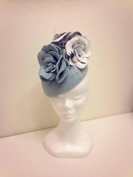 Pale blue felt beret