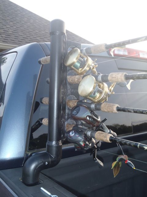 DIY Truck Bed Fishing Rod Holder - never break a fishing rod in the back of your truck again - Learn how to make it yourself at mountainstomarsh.com