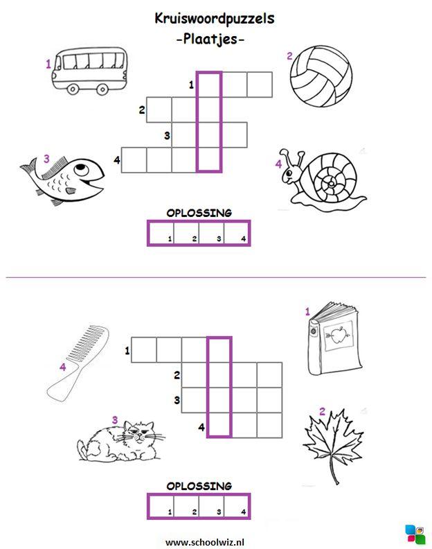 Mini kruiswoordpuzzel 1. #puzzels #kruiswoordpuzzels #kinderpuzzels #plaatjes #schoolwiz