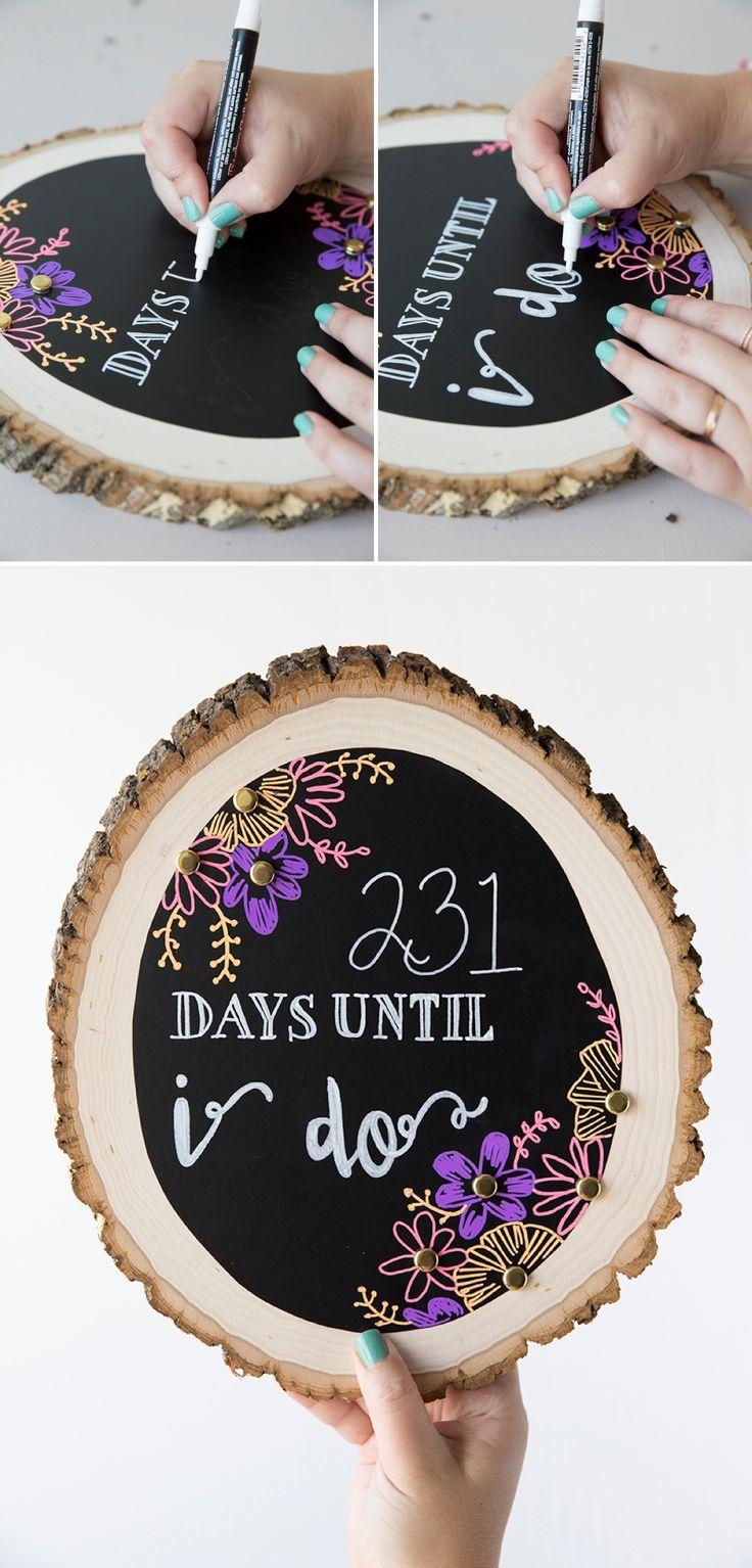 Darling DIY chalkboard, wedding countdown sign!