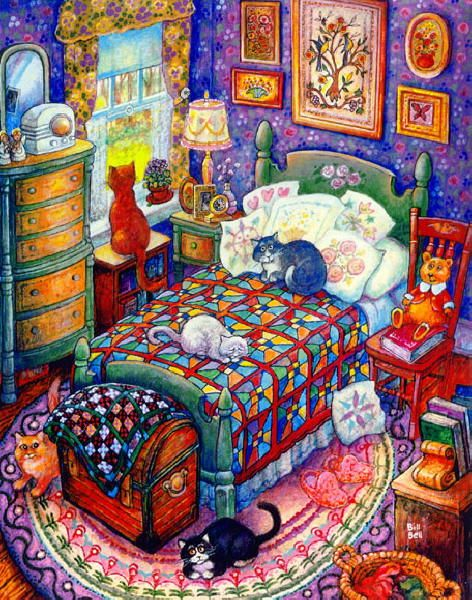 Something about the picture makes me really happy - quilts and cats - what more could you ask for!