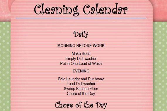 Getting Organized: Cleaning Calendar