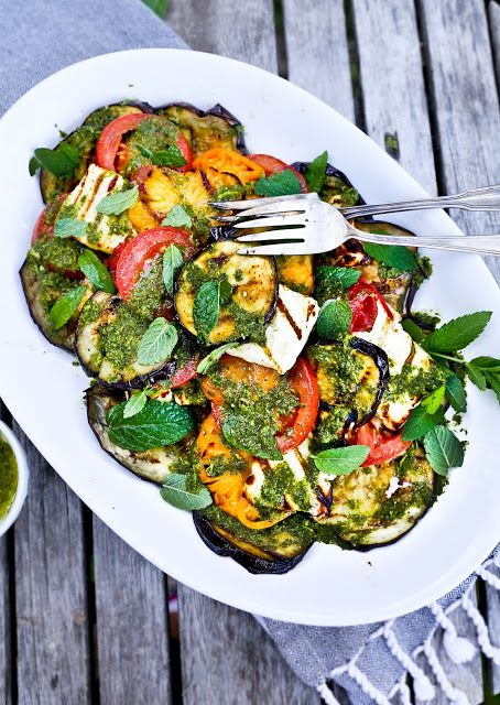 Grilled Halloumi Salad with Mint Dressing. Grilled Halloumi Salad with Mint Dressing. I like the idea of the salad, but would sub some ingredients. eggplant for zuchinnis and halloumi for panela. (we don't get halloumi in mexico but panela it's the closest you can get)