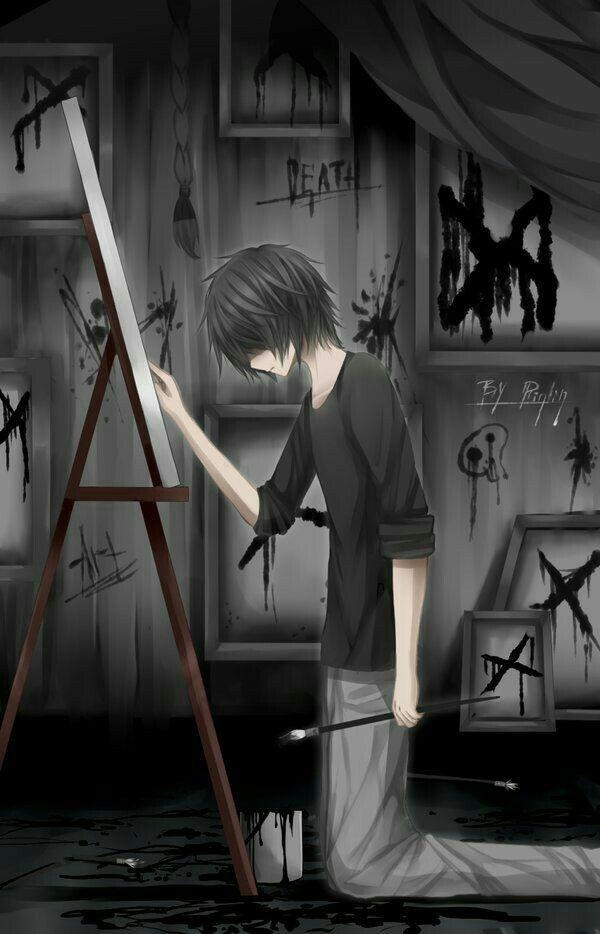 Anime Boy, Painting, Easel, Black Blood, Paintbrush, Death