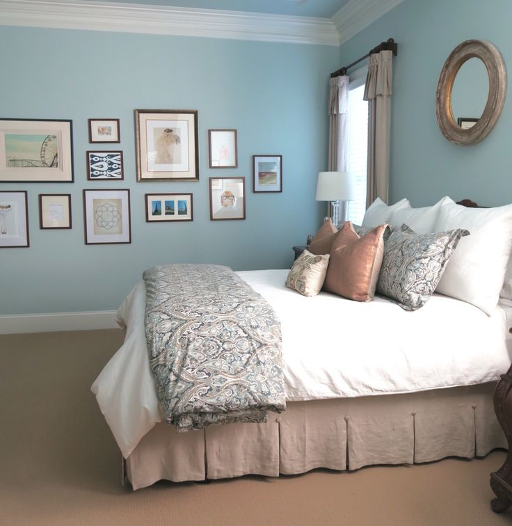 Beautiful Blue Bedrooms: Beautiful Pale Blue Master Bedroom With Gallery Wall