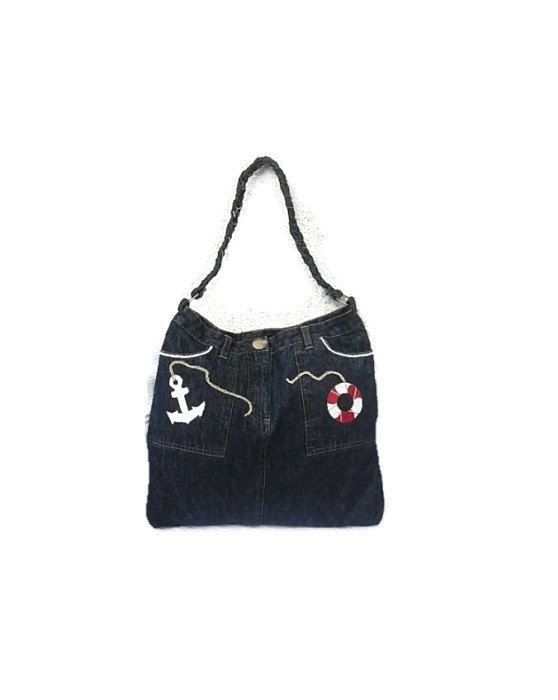 Navy tote bag upcycled jeans tote bag with anchor by Monalinebags, $35.00