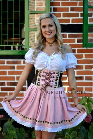 Traje Típico Alemão Rosa