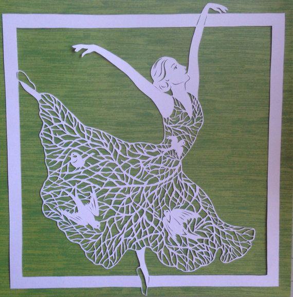 SOLDOriginal hand paper cut-Ballerina in a pretty by DESIGNPAPER