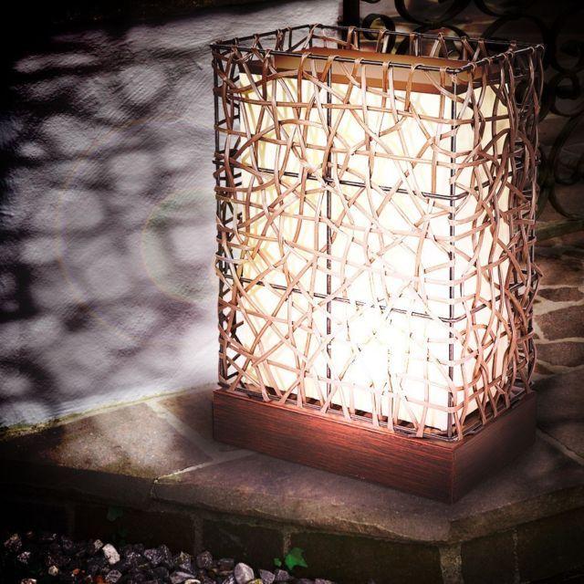 LED Design Außen Steh Leuchte 4 Watt Balkon Garten Stand Lampe Stoff Beleuchtung