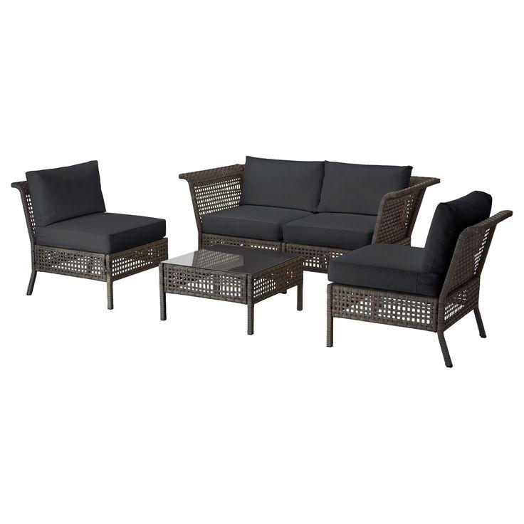 KUNGSHOLMEN/KUNGSÖ kanepe kombinasyonu venge-siyah 204x204x73 cm | IKEA Yaz Ürünleri