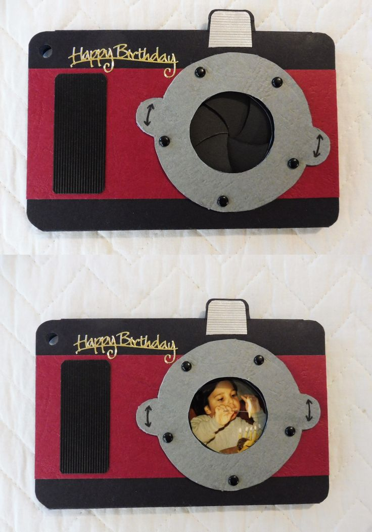 Mechanical Iris camera card I made for my adult son. Used a childhood birthday photo inside the card to show through the open lens.Had to modify the turning ring levers to turn more smoothly but happy with the end result.