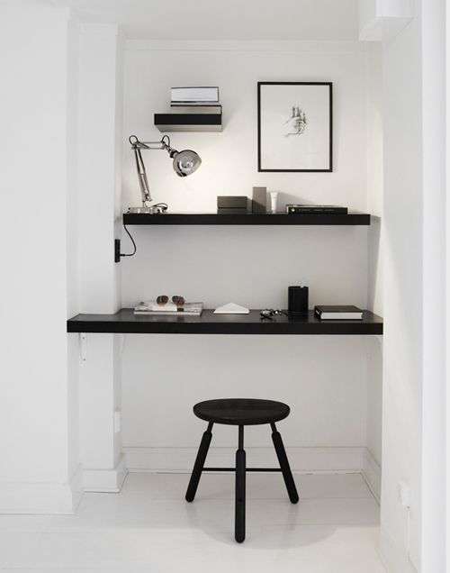 workspace in black and white