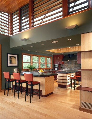 I like the paint and cherry cabinets  actually like this  what if repeated slate on floor on backsplash like this?