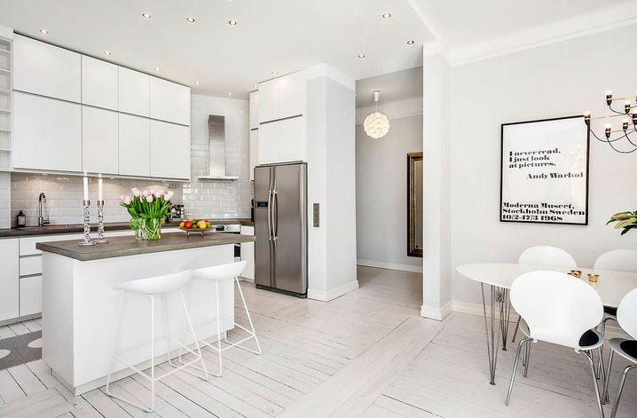 Exakt den här planlösningen kommer mitt kök få, med köksö i mitten. White Kitchen
