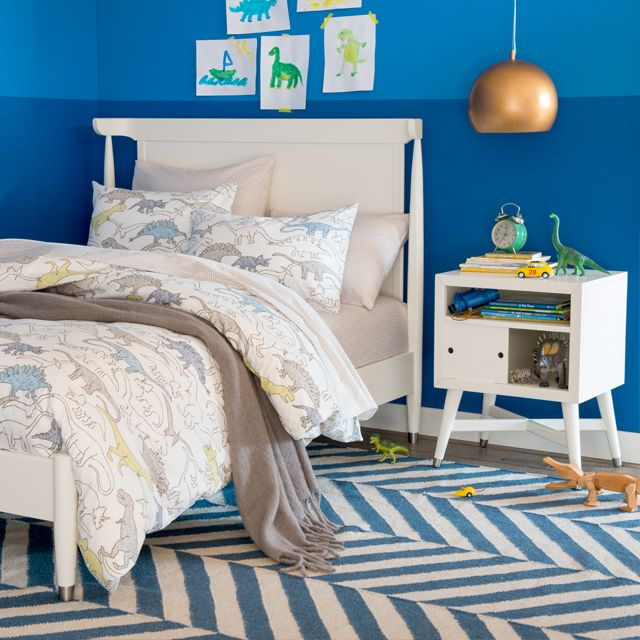 Lovely DwellStudio Mid Century Full Bed And Nightstand In A Cool Peacock Blue  Bedroom Design | Amazing Design
