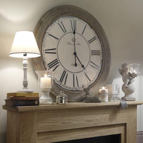 Horloge en bois blanchi D 74 cm CHALET
