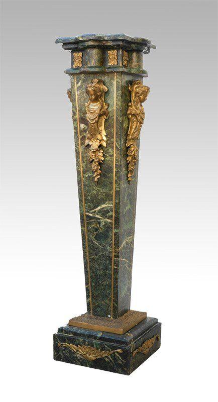 Ornate ormolu green marble pedestal column