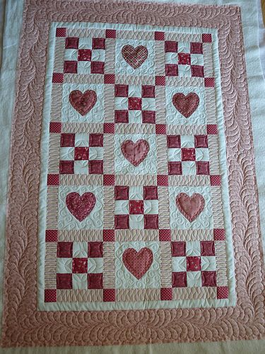 Hearts Baby Quilt Do pattern around border with baby info in center