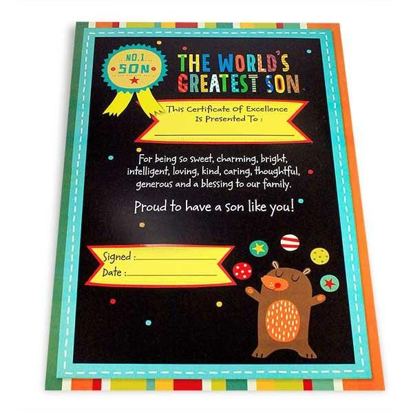 Greatest Son Certificate The world's greatest son this certificate of excellence to: for being so sweet,charming.bright intelligent,loving,kind,caring.thoughtful,generous and a blessing to our family. Proud to have a son like you! No.1 Son... Size : 13 x 9 inch. | Rs. 124 | Shop Now | https://hallmarkcards.co.in/collections/shop-all/products/shop-gift-for-son