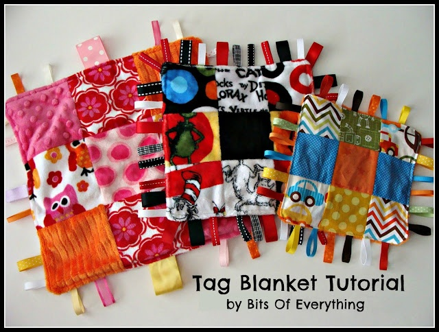 Baby Gift: Tag Blanket Tutorial blog.bitsofeverything.com