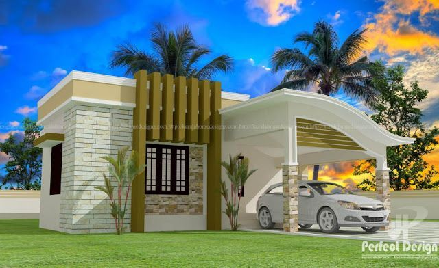 Low Cost 4 Bedroom Dream Home In 1250 Square Feet In 12 Lakhs 2 75 Plot Kerala Home Plan With 4 Small House Elevation Design House Cost Bungalow House Design