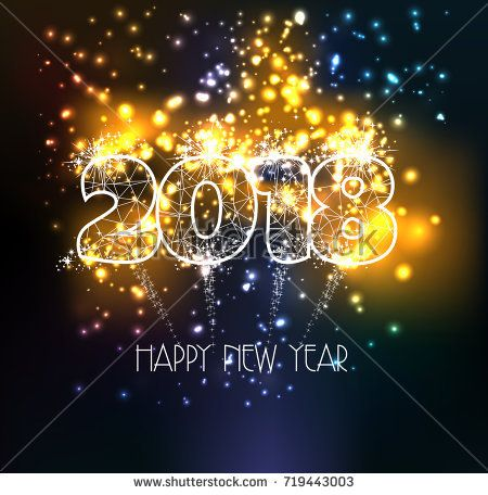 Happy new year 2018 triangle line type on colorful magic fireworks lights effects
