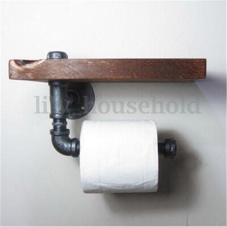 Toilettenpapierhalter-WC-Rollenhalter-Papierhalter-Klopapierhalter-Vintage-Holz