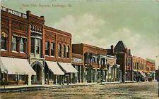 Carthage Illinois IL 1908 East Side of Town Square Parker Co Vintage Postcard