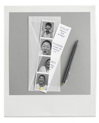 Photo Booth Invitations using Clip Art. Fabulous for children or adult birthday invites| Martha Stewart