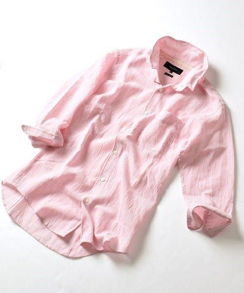 SHIPS JET BLUE(シップスジェットブルー)のSHIPS JET BLUE(シップス ジェットブルー): クールマックス コットン / リネン ワイヤーシャツ 7スリーブ■(シャツ/ブラウス)|ピンク