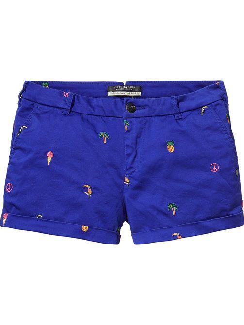 Short Embroidered Chino Shorts
