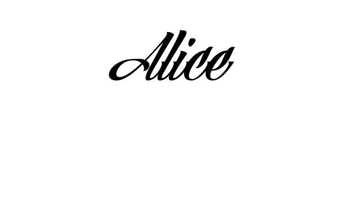 Tatuagem do nome Alice utilizando o estilo Angilla Tattoo