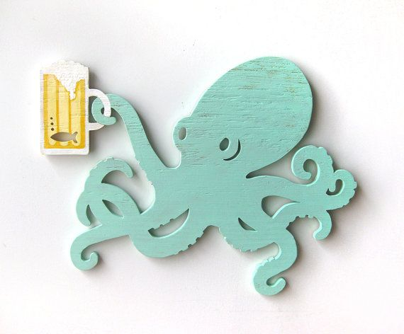 Octopus, beer, wood sign, beach,  ocean, bar, dining, kitchen, seafood restaurant, shabby chic, cottage (also available without mug)