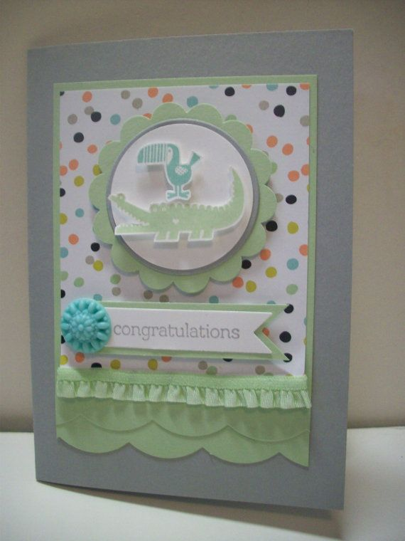 Zoo Babies  Congratulations  Baby card by Belscraftspace on Etsy, $4.50