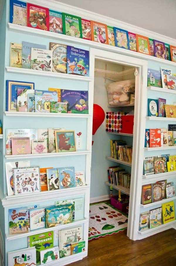 Create a library wall - 28 Genius Ideas and Hacks to Organize Your Childs Room
