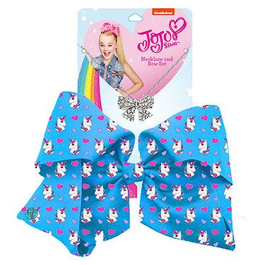 JoJo Siwa 20cm Signature Patterned Bow And Necklace Set -Blue Unicorns