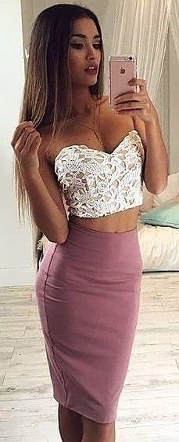#summer #latest #trends   White Lace Bandeau Crop + Dusty Pink Pencil Skirt