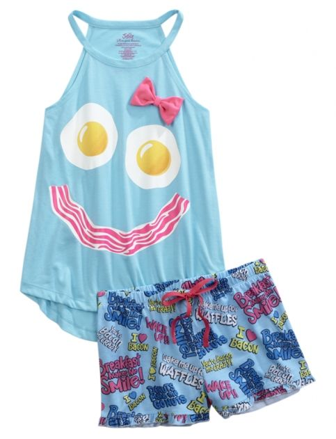 Bacon & Eggs Smiley Face Summer Pajama Set for tween and teen girls. Includes a sleeveless tank top and sleep shorts.