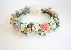 Flower Crown-Peach Flower Crown-Boho Headdress, Bridal Crown, Photo Shoot Crown, Peach Wedding-Floral Head Wreath, Spring Wedding