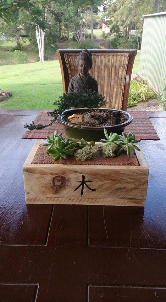 Recycled house brick and scrap pallet timber
