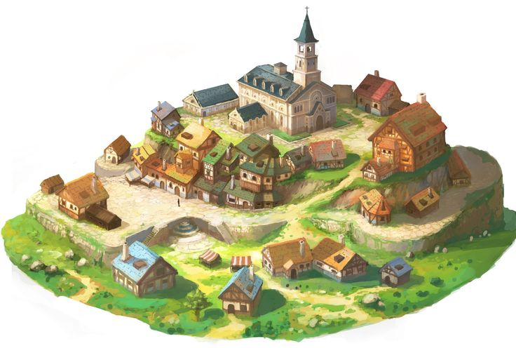 Medieval town, OKU (K.I Kim) on ArtStation at https://www.artstation.com/artwork/medieval-town