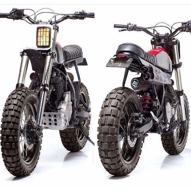 Monday Fave: #NX650 #Dominator #Scrambler by @dreamwheelsheritage and @capelosgarage. Details on the blog! #Honda #dualsport #enduro #custom #motorcycle #moto #tracker #motolove
