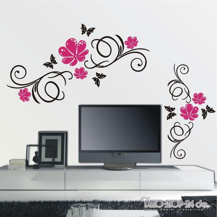 details zu wandtattoo wandaufkleber blumen ranke 2 farbig blumenranke wohnzimmer flur 366 - Wandtattoo Wohnzimmer Blumen