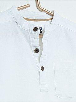 Tee-shirt en coton et lin col mao  - Kiabi