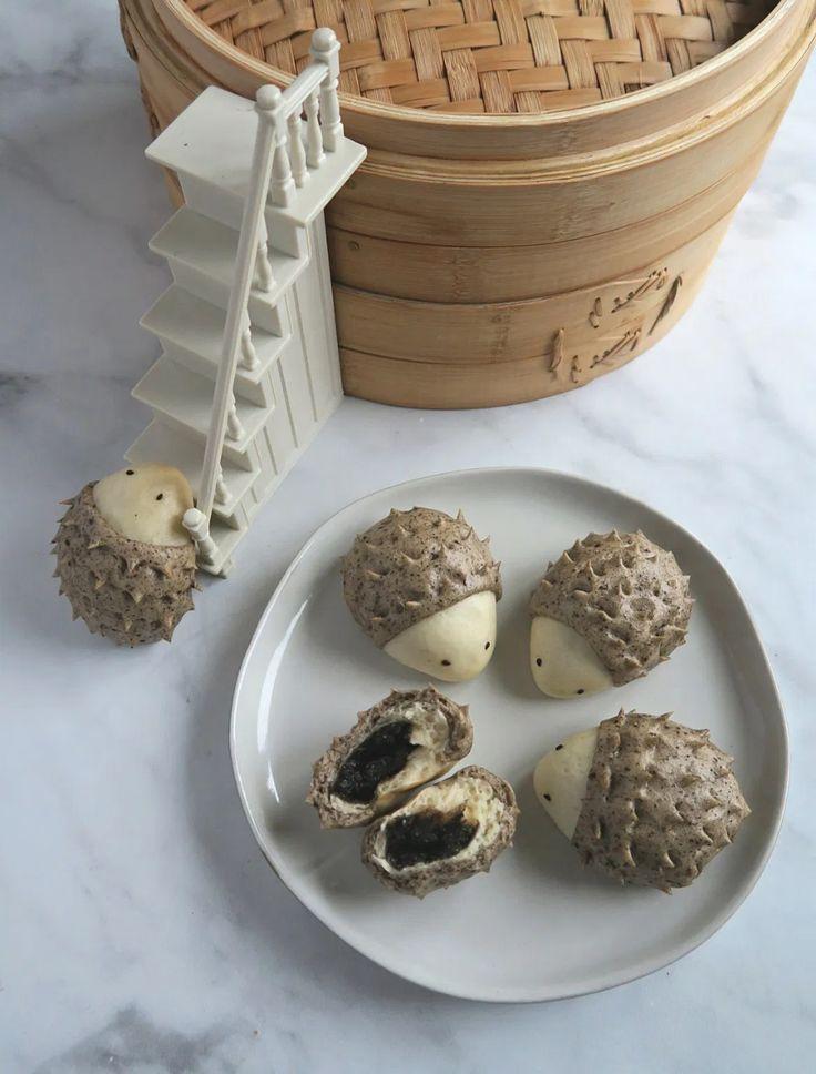 hedgehog black sesame bun zhi ma bao  recipe in 2020