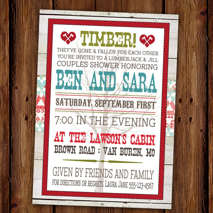 Lumberjack And Jill Couples Shower Party Invitation   Redneck Party    Country Engagement Party. $15.00