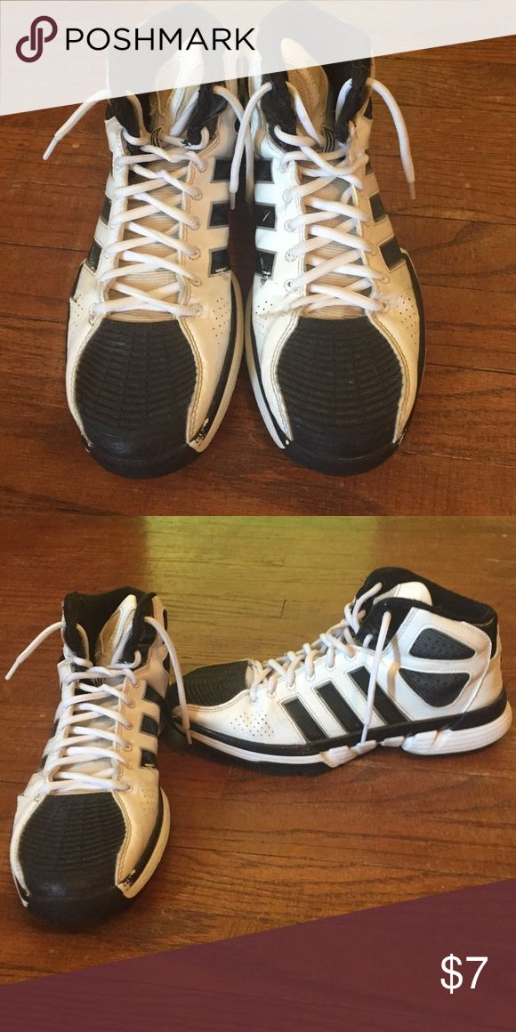 Adidas basketball shoes Right shoe has a small rip on the side but not noticeable. They are very comfortable! adidas Shoes Athletic Shoes
